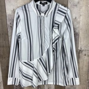 3/$25🛍️ Context Striped Ruffle Henley Blouse